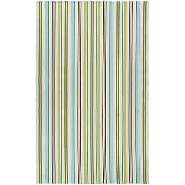 Highland Dunes Artique Hand-Woven Caribbean Breeze/Green Area Rug; 5' x 8'
