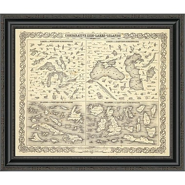 East Urban Home 'Comparative Size of Lakes and Islands; 1856' Framed Print