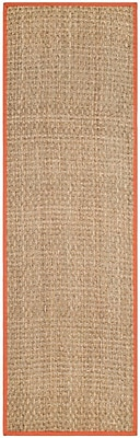 Bay Isle Home Morrisville Natural/Rust Area Rug; Runner 2'6'' x 8'