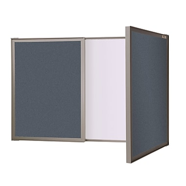 Ghent VisuALL PC Whiteboard Cabinet with Fabric Bulletin Board Exterior Doors, Blue