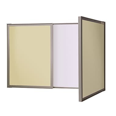 Ghent VisuALL PC Whiteboard Cabinet with Fabric Bulletin Board Exterior Doors, Beige