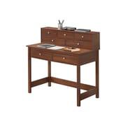 Techni Mobili Elegant Writing Desk With Storage And Hutch, Oak (RTA-8401-OAK)