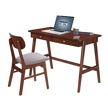 Techni Mobili Modern Desk with Storage and Chair Set, Mahogany, Gray (RTA-3602ST-MAH)