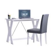 Techni Mobili Modern Matching Desk And Chair Set, White/Gray (RTA-3604ST-WHT)