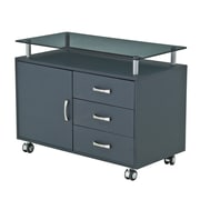 Techni Mobili Rolling Storage Cabinet With Frosted Glass Top, Graphite (RTA-S10-GPH06)