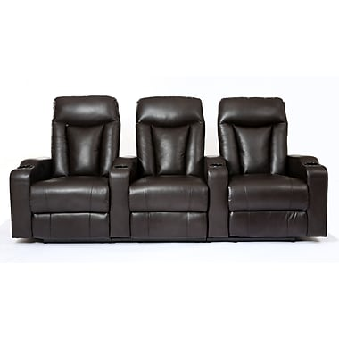Prime Mounts – Fauteuil inclinable en cuir reconstitué à inclinaison manuelle à 3 sièges noir pr cinéma maison (PMC33005BM-BLK)