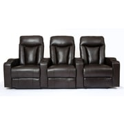 Prime Mounts 3-Seat Black Bonded Leather Manual Recliner Home Theatre Seating (PMC33005BM-BLK)