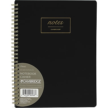 Cambridge® – Cahier de notes relié à spirale WorkStyle, format moyen de 9 1/2 po x 7 1/2 po, noir (06968)