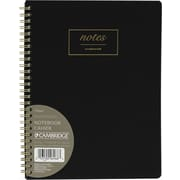 "Cambridge WorkStyle Medium Wirebound Notebook, 9-1/2"" x 7-1/2"", Black (06968)"