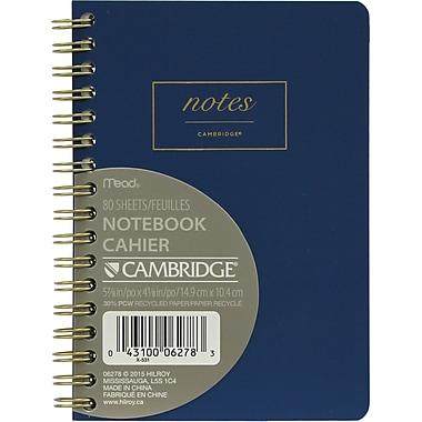 Cambridge® – Cahier de notes relié à spirale WorkStyle, format petit de 5 7/8 po x 4 1/8 po, bleu (06964)