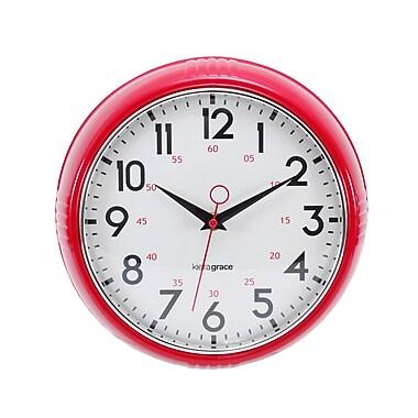 Kiera Grace – Horloge murale rétro, lunette convexe en verre avec contour chromé, 9,5 po, rouge, 4/paquet (HO87516-7MC)