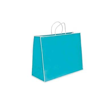 Creative Bag – Sac à provisions San Francisco en papier, 10 x 10 x 4 po, bleu porcelaine, 100/paquet
