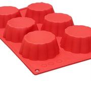 Thunder Group Inc. 6 Cup Non-Stick 3.7 Oz Brioche High Heat Silicone Baking Mold