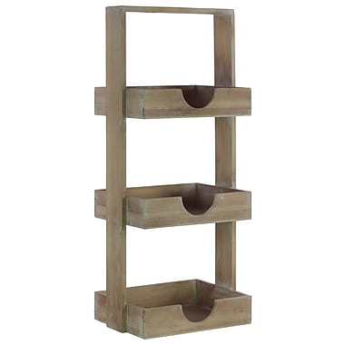Urban Trends Rectangle Wood Standing Shelving Unit; Natural Brown