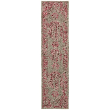 Bungalow Rose Raiden Gray/Pink Area Rug; Runner 1'10'' x 7'6''