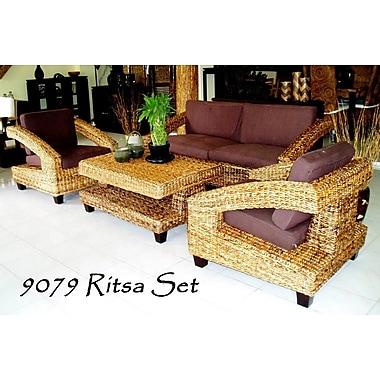 Bayou Breeze Emmalyn Rattan 4 Piece Sofa Set w/ Cushions