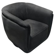 Latitude Run Halcott Swivel Accent Barrel Chair; Anthracite