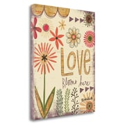 Latitude Run 'Love Blooms Here' Graphic Art Print on Wrapped Canvas; 28'' H x 23'' W