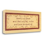 Red Barrel Studio 'Hearts Will Break' Textual Art on Wrapped Canvas; 13'' H x 32'' W