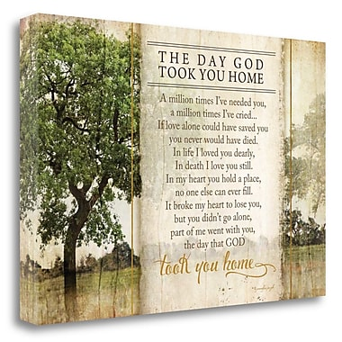 Red Barrel Studio 'The Day God Took You Home' Graphic Art Print on Wrapped Canvas; 24'' H x 36'' W