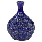 Alcott Hill Lakeshore Etched Floral Pattern Ceramic Table Vase