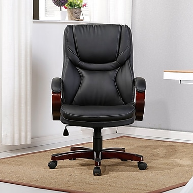 Winston Porter Abigale Adjustable Lumbar Support High-Back Executive Chair; Black