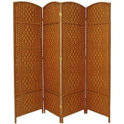 Bay Isle Home Nowayton 71'' x 64' Tall Diamond Weave Fiber 4 Panel Room Divider; Dark Beige
