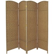 Bay Isle Home Nowayton 71'' x 64' Tall Diamond Weave Fiber 4 Panel Room Divider; Natural