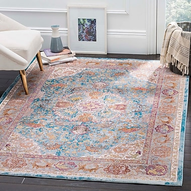 Bungalow Rose Andy Blue Area Rug; Runner 2' x 8'