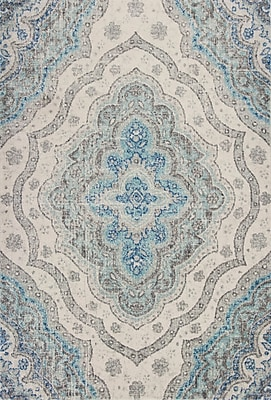 Bungalow Rose Curtice Gray/Blue Layla Area Rug; 5'3'' x7'7''