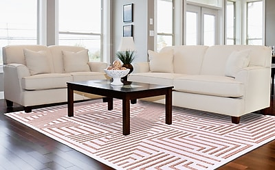 Corrigan Studio Drew White/Blush Area Rug; 7'6'' x 10'6''