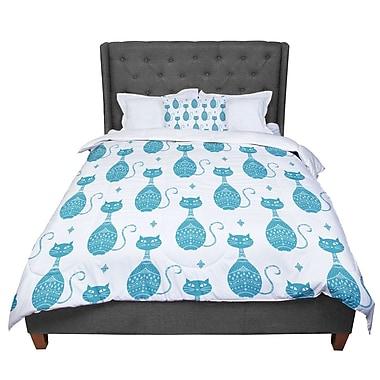 East Urban Home Cristina Bianco Design Cat Pattern Animal Comforter; King