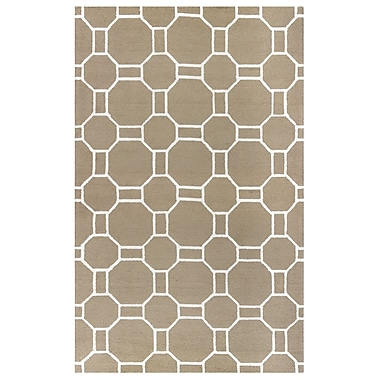 Ebern Designs Evangeline Hand-Tufted Beige Indoor/Outdoor Area Rug; Round 8'