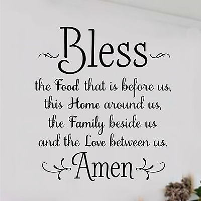 Enchantingly Elegant Bless the Food Before Us Wall Decal; 32'' H x 29'' W