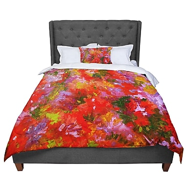 East Urban Home Jeff Ferst Summer Garden Floral Painting Comforter; Queen
