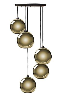 Ebern Designs Copeland Sphere 5-Light Cluster Pendant; Gold