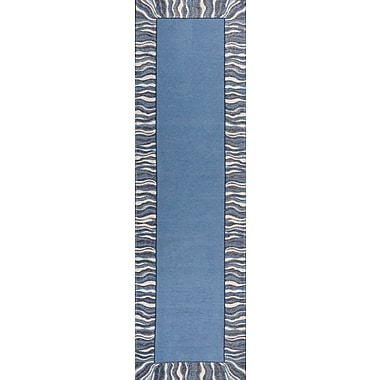 Ebern Designs Hancock Waves Denim Blue Area Rug; Runner 2'2'' x 7'6''