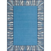 Ebern Designs Hancock Waves Denim Blue Area Rug; 20'' x 31''