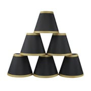 Mercer41  6'' Silk Empire Candelabra Shade w/ Trim (Set of 6); Black