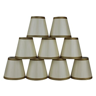 Mercer41 5'' Silk Empire Candelabra Shade w/ Trim (Set of 9); Cream