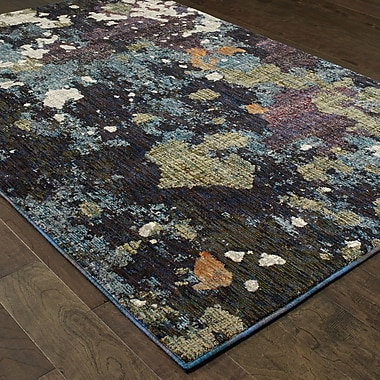 Williston Forge Knox Dappled Night Navy/Green Area Rug; 5'3'' x 7'3''