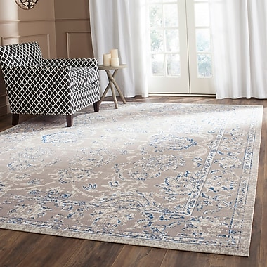 Charlton Home Nielsen Taupe / Blue Area Rug; 10' x 14'