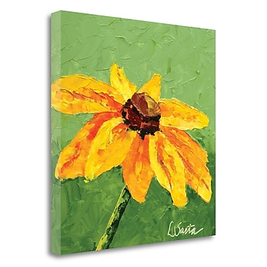 August Grove 'Yellow Blooms' Leslie Saeta Framed Print on Wrapped Canvas; 22'' H x 22'' W