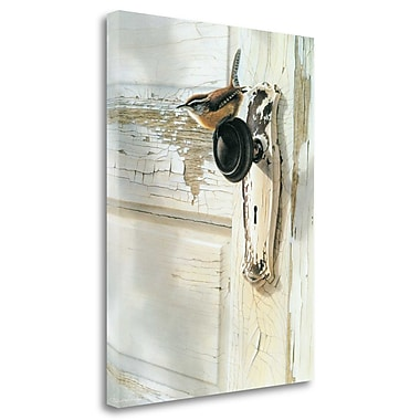 August Grove 'Wren on Doorknob' by Bob Henley Acrylic Painting Print Print on Wrapped Canvas