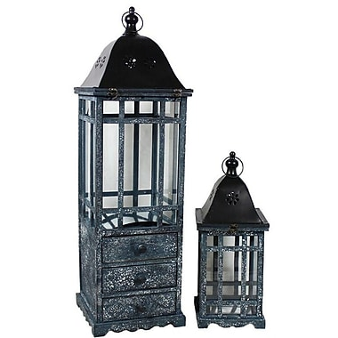 August Grove 2 Piece Wooden Lantern w/ Drawers Set (Set of 2)