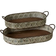 Gracie Oaks Haddon Whitewash Embossed Oval 2 Piece Serving Tray Set