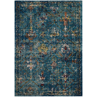 Bungalow Rose Andy Blue Area Rug; Round 6'5''