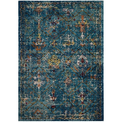 Bungalow Rose Andy Blue Area Rug; Square 6'5''