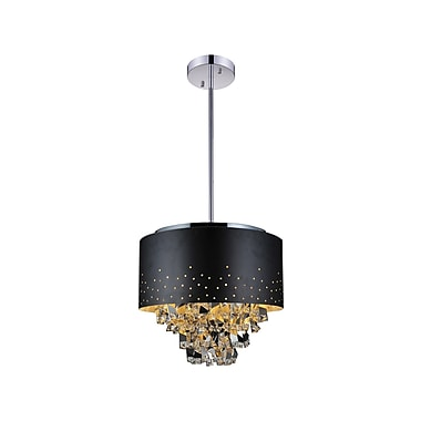CrystalWorld Carmella 6-Light Drum Chandelier; Black