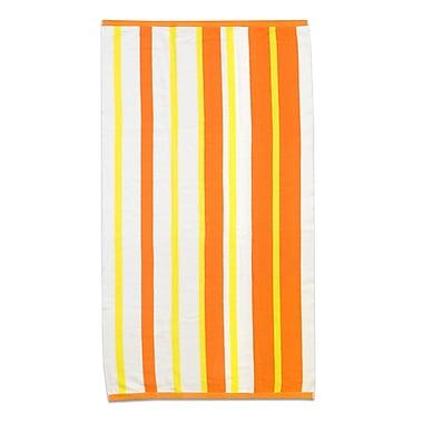 Highland Dunes Stripe Cabana Beach Cotton Towel; Mango/Lemon